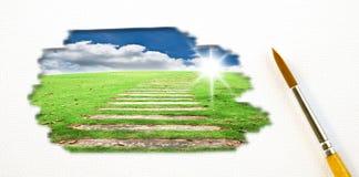 небо изображения картины поля щетки художника голубое Стоковая Фотография RF