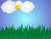 небо иллюстрации травы Стоковые Изображения
