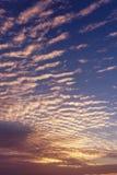 Небо и восход солнца утра вертикального фото изумительное Красивый ландшафт с взглядом на абстрактных желтых красных облаках Стоковые Изображения