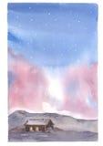 Небо и дом акварели иллюстрация штока