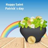 Небо и радуга волшебства Счастливый день St. Patrick, на деревянном tabl иллюстрация штока