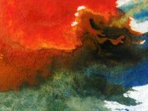 Небо конспекта предпосылки искусства акварели заволакивает фантазия влажного мытья захода солнца шторма воздуха запачканная стоковое изображение rf