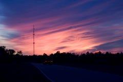 небо красного цвета ночи Стоковые Фото
