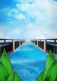 Небо моста голубое, предпосылка природы листьев, плакат Стоковая Фотография