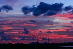 Небо на времени захода солнца Стоковая Фотография