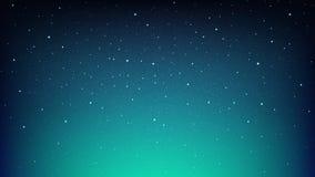 Небо ночи сияющее звёздное, голубая предпосылка космоса с звездами