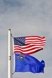 небо полюса Невады американских флагов вниз Стоковая Фотография