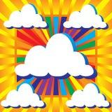 Небо с облаками и солнечным лучом лучей Стоковая Фотография