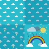 Небо с облаками, дождем, солнцем и вектором дуги радуги Стоковые Фотографии RF