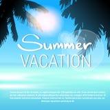 Небо тропических летних каникулов пляжа Солнця пальмы острова рая голубое Стоковые Фотографии RF