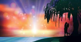 Небо фантазии сюрреалистическое, любовники silhouette романтичные волшебные обои Стоковые Изображения RF