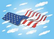 небо флага 3d мы развевая Иллюстрация штока