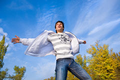 небо человека мух Стоковые Фото