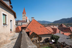 Небольшой город Weissenkirchen-в-der-Wachau Wachau-долина, Австрия Стоковое Изображение