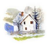 Небольшой дом в весеннем времени, иллюстрации акварели Стоковая Фотография