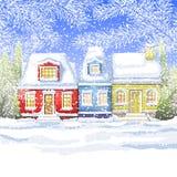 Небольшой дом 3 в деревне около карточки зимы леса зимы Стоковое Изображение