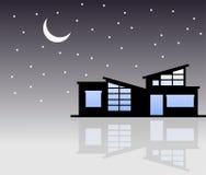 Небольшой дом в ноче Стоковое Изображение