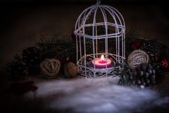небо klaus santa заморозка рождества карточки мешка винтажная свеча рождества на праздничной предпосылке Стоковая Фотография RF