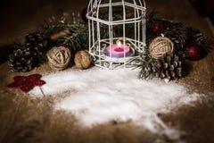 небо klaus santa заморозка рождества карточки мешка винтажная свеча рождества на праздничной предпосылке Стоковые Фото