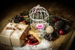 небо klaus santa заморозка рождества карточки мешка коробка праздничного подарка и праздничное расположение рождества Стоковые Изображения RF