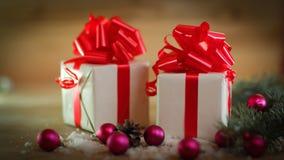небо klaus santa заморозка рождества карточки мешка красочные коробки с подарками на backgrou рождества Стоковое Фото