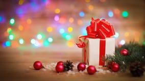 небо klaus santa заморозка рождества карточки мешка Подарочная коробка на предпосылке рождества Стоковые Фотографии RF