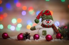 небо klaus santa заморозка рождества карточки мешка снеговик игрушки на предпосылке рождества Стоковая Фотография RF