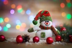 небо klaus santa заморозка рождества карточки мешка снеговик игрушки на предпосылке рождества Стоковое Изображение RF