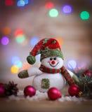 небо klaus santa заморозка рождества карточки мешка снеговик игрушки на предпосылке рождества Стоковое Фото