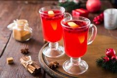 небо klaus santa заморозка рождества карточки мешка горячее пряное питье рождества клюквы и специи Стоковые Изображения