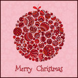 небо klaus santa заморозка рождества карточки мешка Красивый в ретро шарике рождества стиля бесплатная иллюстрация
