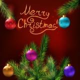 небо klaus santa заморозка рождества карточки мешка Реалистические ветви ели и праздничный Стоковые Фотографии RF