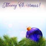 небо klaus santa заморозка рождества карточки мешка Реалистические ветви ели и безделушка рождества Стоковые Фотографии RF