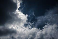 Небо Nighttime с пасмурным, сделало бы большую предпосылку Стоковая Фотография RF