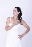 Невеста брюнет в платье тонкого ремня Bridal Стоковое Фото