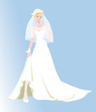 Невеста, венчание, поженилась жизнь, белое платье иллюстрация вектора