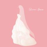Невеста в белом bridal платье, bridal ливне, платье свадьбы Розовая предпосылка Стоковое фото RF
