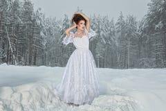 Невеста в лесе зимы. стоковые фото