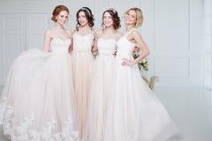 Невеста в салоне свадьбы Красивая девушка 4 в оружиях ` s одина другого Задняя часть, юбки шнурка конца-вверх Стоковое Фото