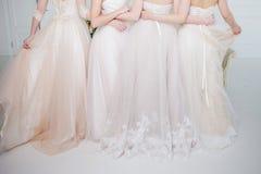 Невеста в салоне свадьбы Красивая девушка 4 в оружиях ` s одина другого Задняя часть, юбки шнурка конца-вверх Стоковое Изображение RF