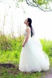 Невеста девушки в платье свадьбы с элегантным стилем причёсок, с белым платьем свадьбы Standingin трава рекой Стоковая Фотография RF