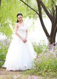 Невеста девушки в платье свадьбы с элегантным стилем причёсок, с белым платьем свадьбы Standingin трава рекой Стоковые Фотографии RF