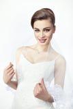 Невеста девушки с модным стилем причёсок Стоковые Изображения
