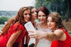 Невеста и девушки bridesmaids красивые в красном цвете Стоковые Изображения