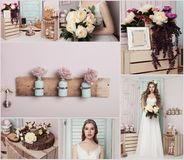 Невеста коллажа красивая молодая с цветками Стоковые Изображения