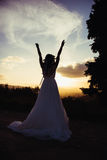 Невеста на заходе солнца, в природе Стоковое Фото