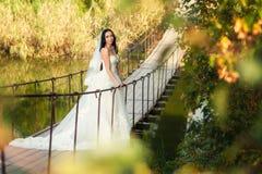 Невеста на мосте Стоковая Фотография RF