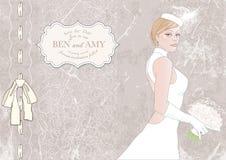 невеста с букетом, знаменем для текста иллюстрация Стоковое Фото