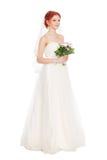 Невеста с букетом цветков стоковая фотография rf