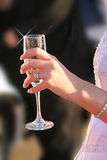 Невеста с стеклом вина Стоковая Фотография